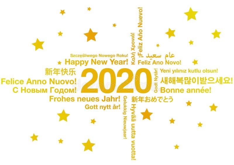 Lyckligt nytt år 2020 i olika språk vektor illustrationer
