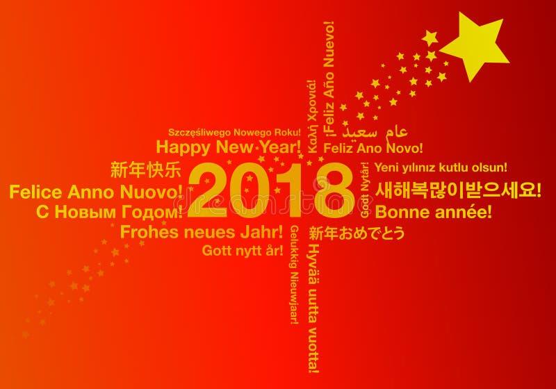 Lyckligt nytt år i olikt begrepp för språkhälsningkort vektor illustrationer