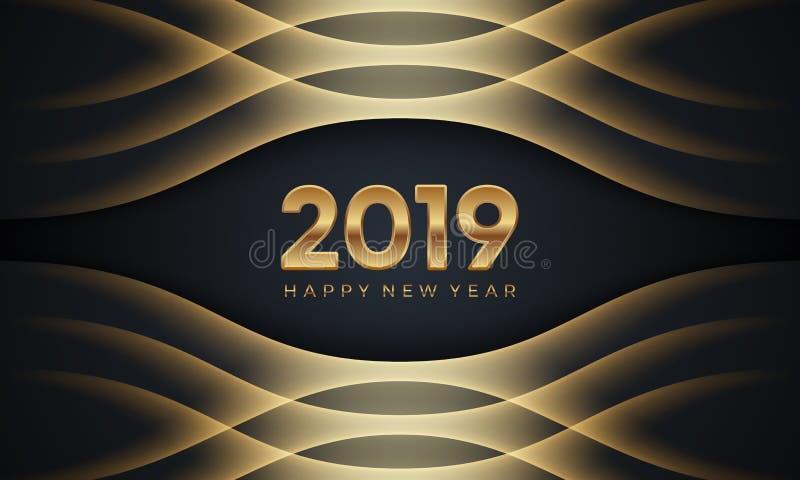 Lyckligt nytt år 2019 Idérik lyxig abstrakt vektorillustration med guld- nummer på mörk bakgrund royaltyfri illustrationer