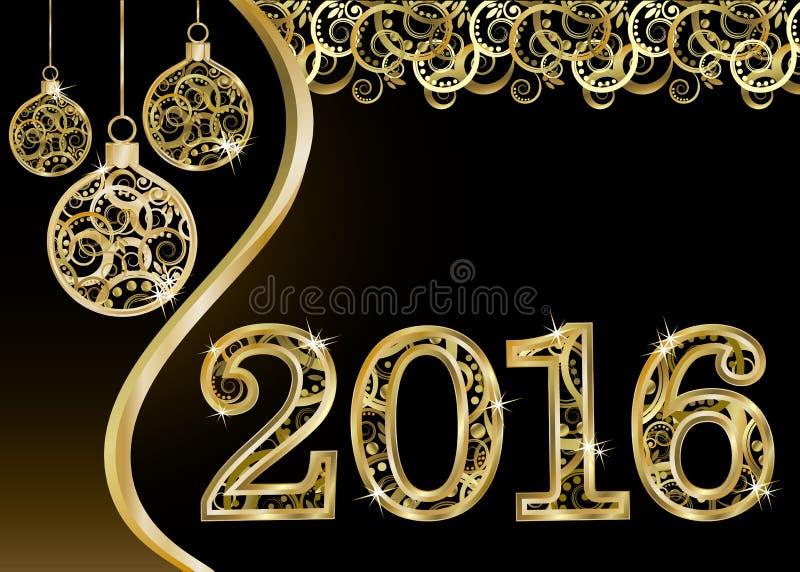 Lyckligt nytt 2016 år inbjudankort, vektor royaltyfri illustrationer