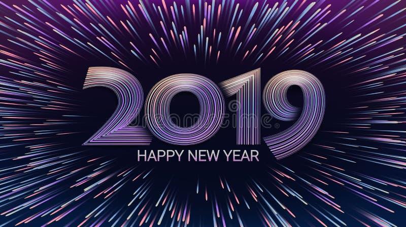 Lyckligt nytt år 2019 Jul Explosion av fyrverkerier och honnören Ljus som skimrar partiklar djupblå färg Beröm royaltyfri illustrationer