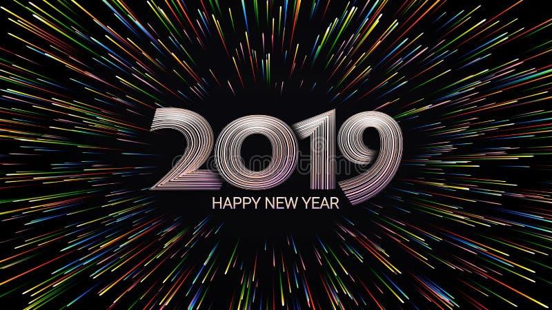 Lyckligt nytt år 2019 Jul Färgfyrverkerier Abstrakt sammansättning i form av solljus royaltyfri illustrationer