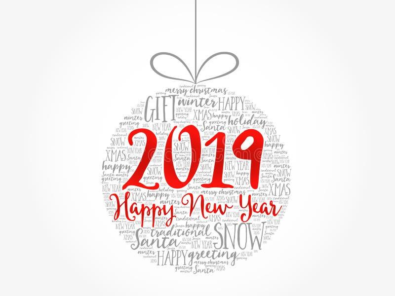 Lyckligt nytt år 2019, julboll stock illustrationer