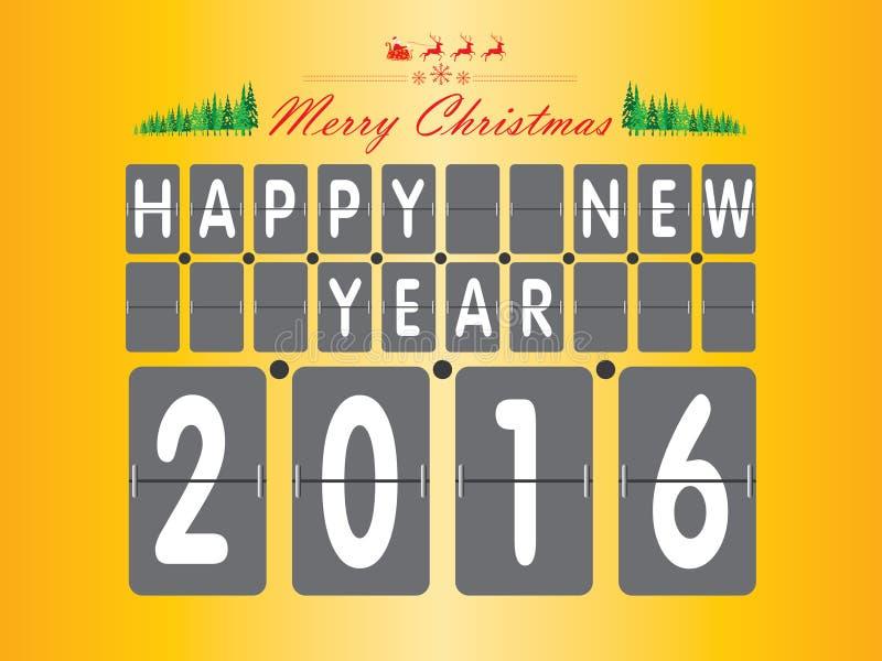 Lyckligt nytt år 2016 Julgranen och Santa Claus på gul och orange bakgrund stock illustrationer