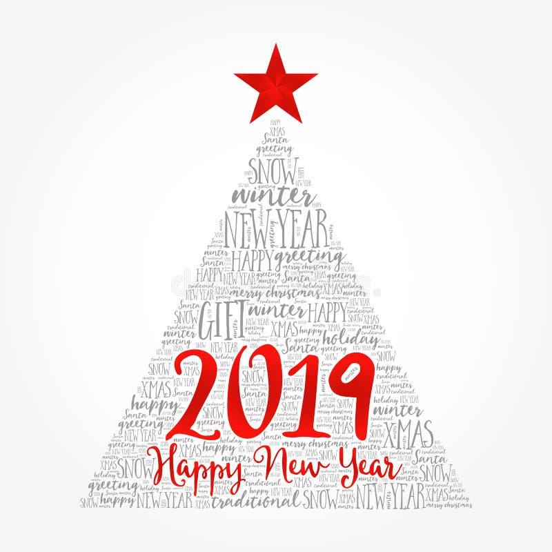 Lyckligt nytt år 2019, julordmoln stock illustrationer
