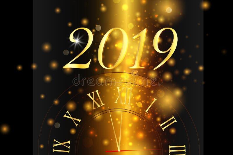 Lyckligt nytt år 2019 klaus santa för frost för påsekortjul sky vektor illustrationer