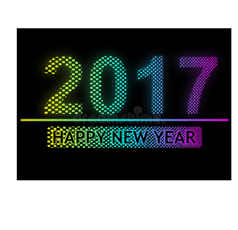 Lyckligt nytt år 2017 - ljus PIXELeffekt vektor illustrationer