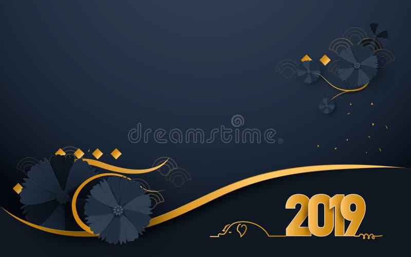 Lyckligt nytt år 2019 Lyxig guld- och mörkt - blått med för konsthantverkstil för orientaliska blommande blommor pappers- klippt  stock illustrationer