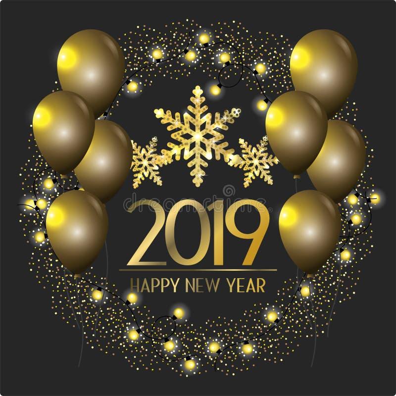 Lyckligt nytt år med ballonger och flingagarnering royaltyfri illustrationer