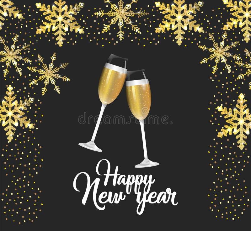 Lyckligt nytt år med champagneexponeringsglas royaltyfri illustrationer