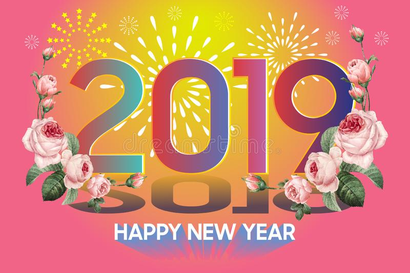 Lyckligt nytt år 2019 med den färgrika stilsorten för blomma och fyrverkerivektorn stock illustrationer