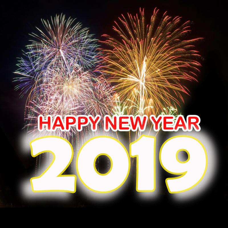 Lyckligt nytt år 2019 med färgrika fyrverkerier arkivbild