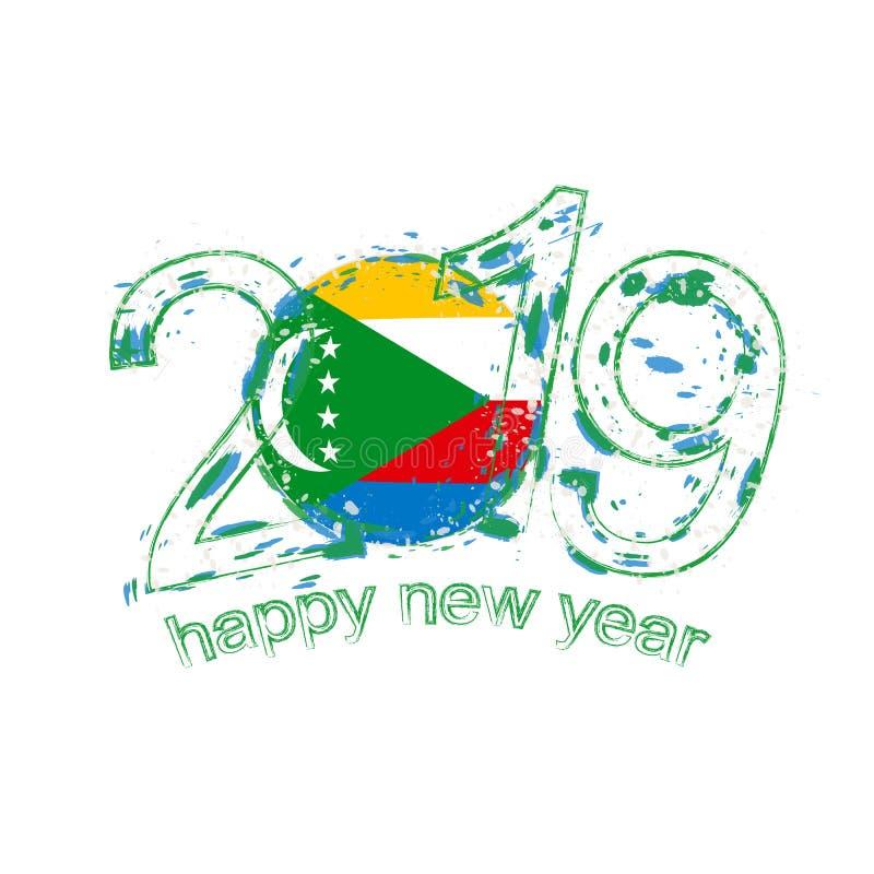 Lyckligt nytt 2019 år med flaggan av Comoros Feriegrungevektor vektor illustrationer