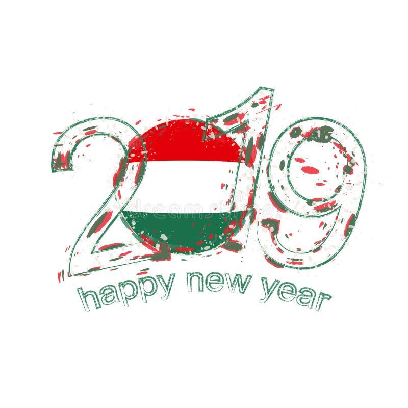 Lyckligt nytt 2019 år med flaggan av Ungern Feriegrungevektor vektor illustrationer
