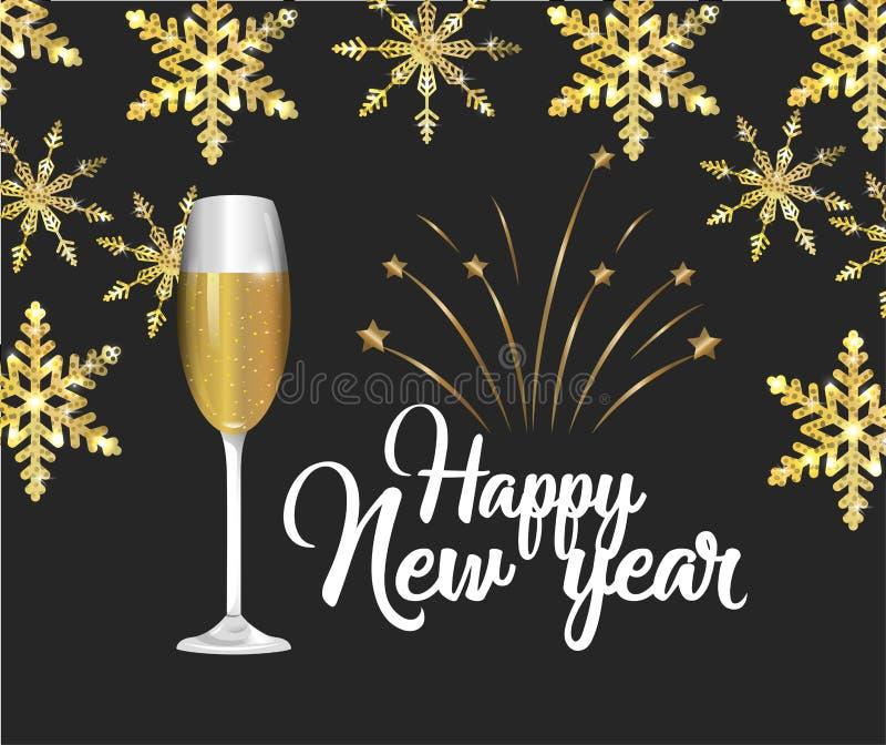 Lyckligt nytt år med flingor och stjärnor vektor illustrationer
