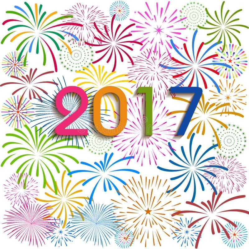 Lyckligt nytt år 2017 med fyrverkeribakgrund vektor illustrationer