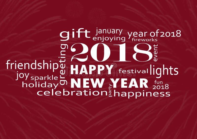 Lyckligt nytt år 2018 med fyrverkerier vektor illustrationer