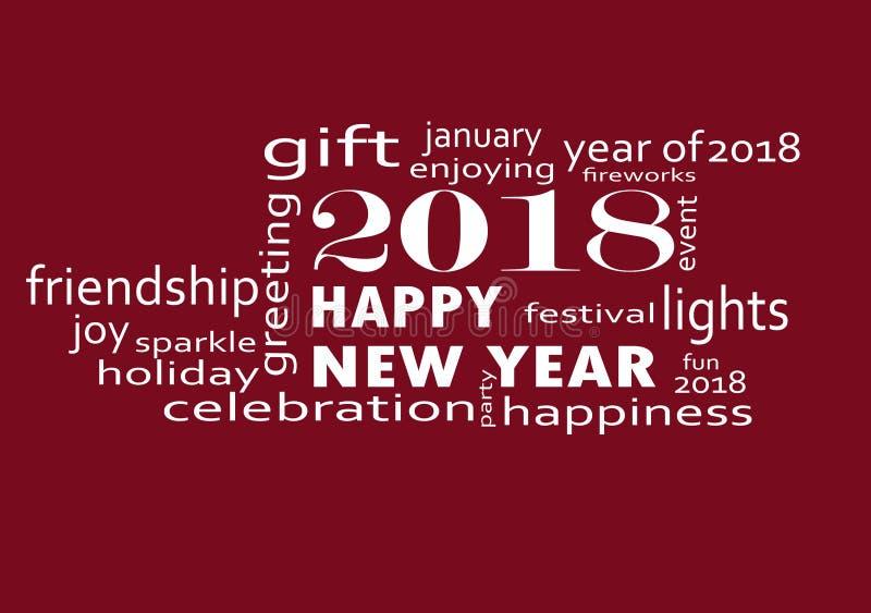 Lyckligt nytt år 2018 med fyrverkerier stock illustrationer