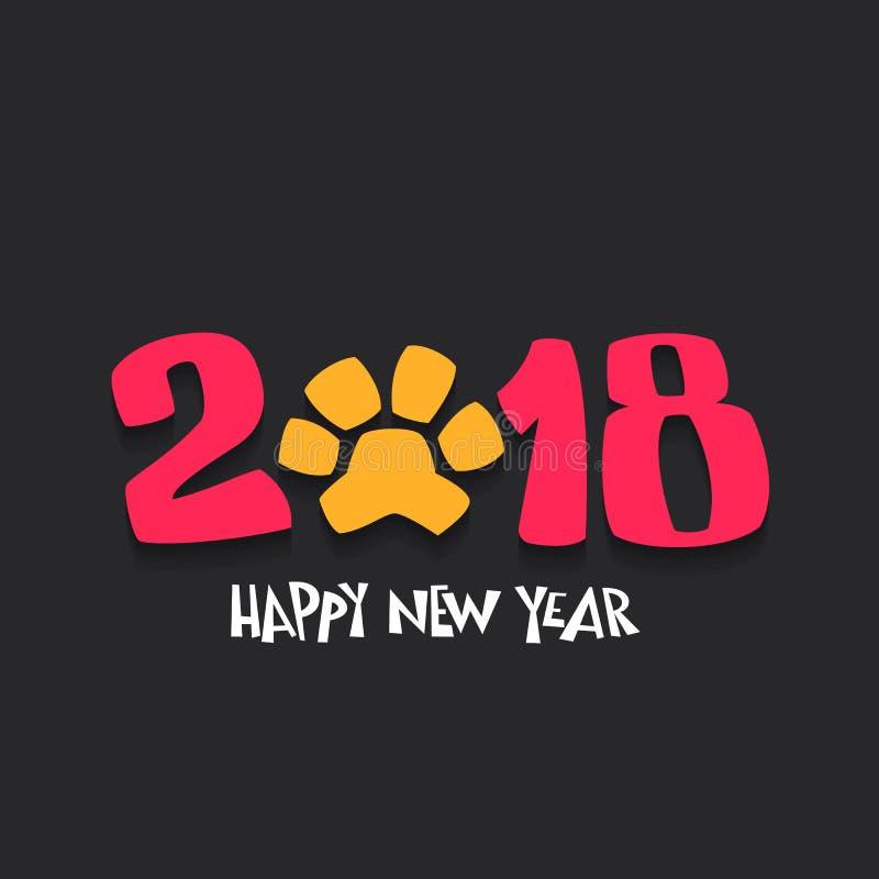 Lyckligt nytt år 2018 med hundspåret också vektor för coreldrawillustration royaltyfri illustrationer