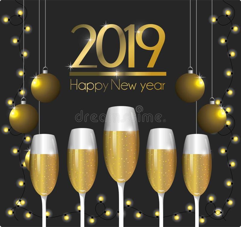 Lyckligt nytt år med julbollar och champagneexponeringsglas royaltyfri illustrationer