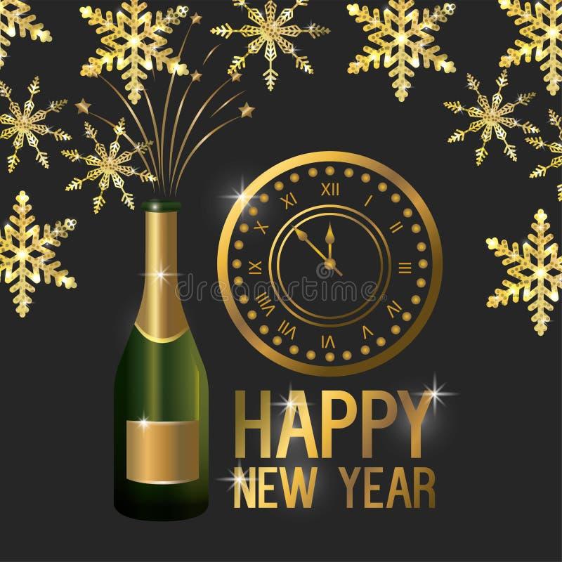 Lyckligt nytt år med klocka- och champagneflaskan royaltyfri illustrationer