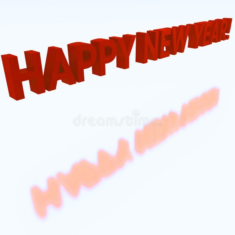 Lyckligt nytt år med röda bokstäver, på vit bakgrund För festlig design julvykort 3d royaltyfri illustrationer