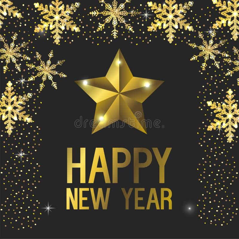 Lyckligt nytt år med stjärnagarnering royaltyfri illustrationer