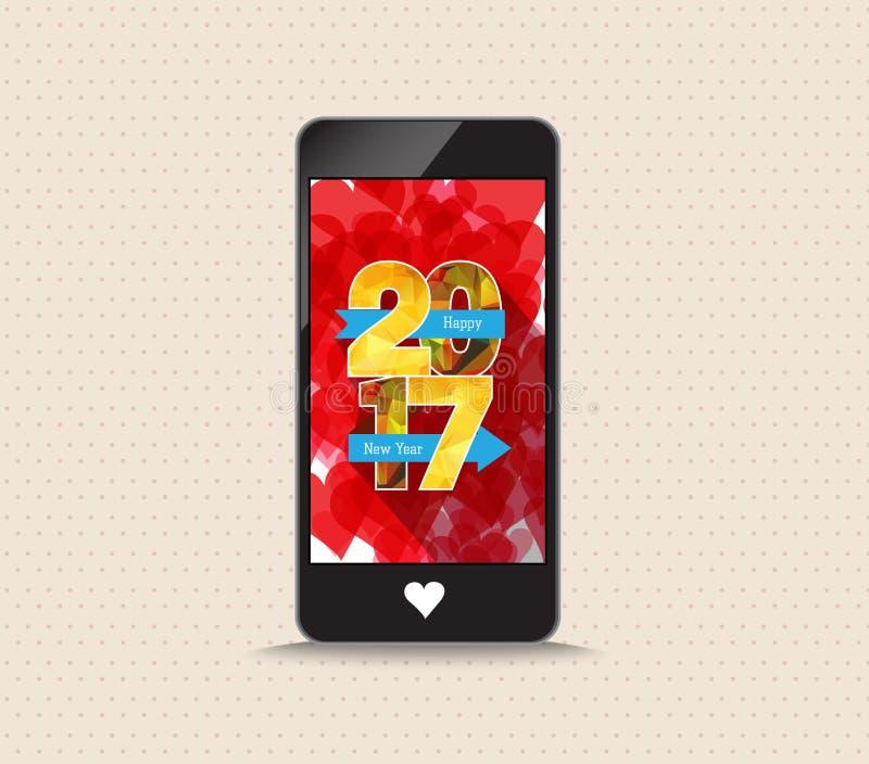 Lyckligt nytt år 2017 med telefonhälsningkortet stock illustrationer