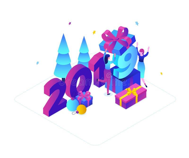 Lyckligt nytt år - modern färgrik isometrisk vektorillustration royaltyfri illustrationer
