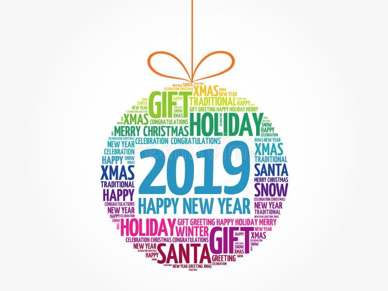 Lyckligt nytt år 2019, moln för julbollord stock illustrationer