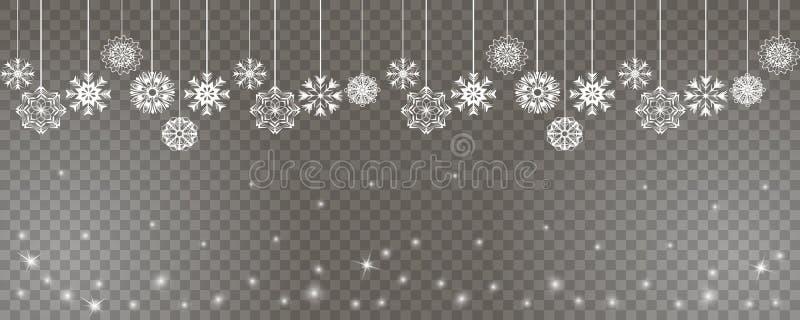 Lyckligt nytt år och bakgrund för glad jul med vita snöflingor på rader på en genomskinlig bakgrund vektor illustrationer