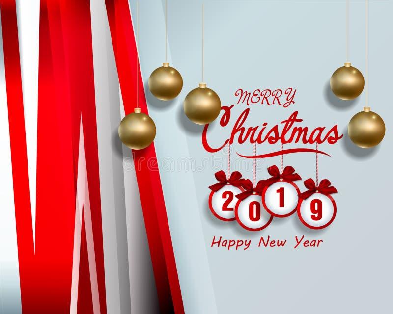 Lyckligt nytt år 2019 och glad jul stock illustrationer