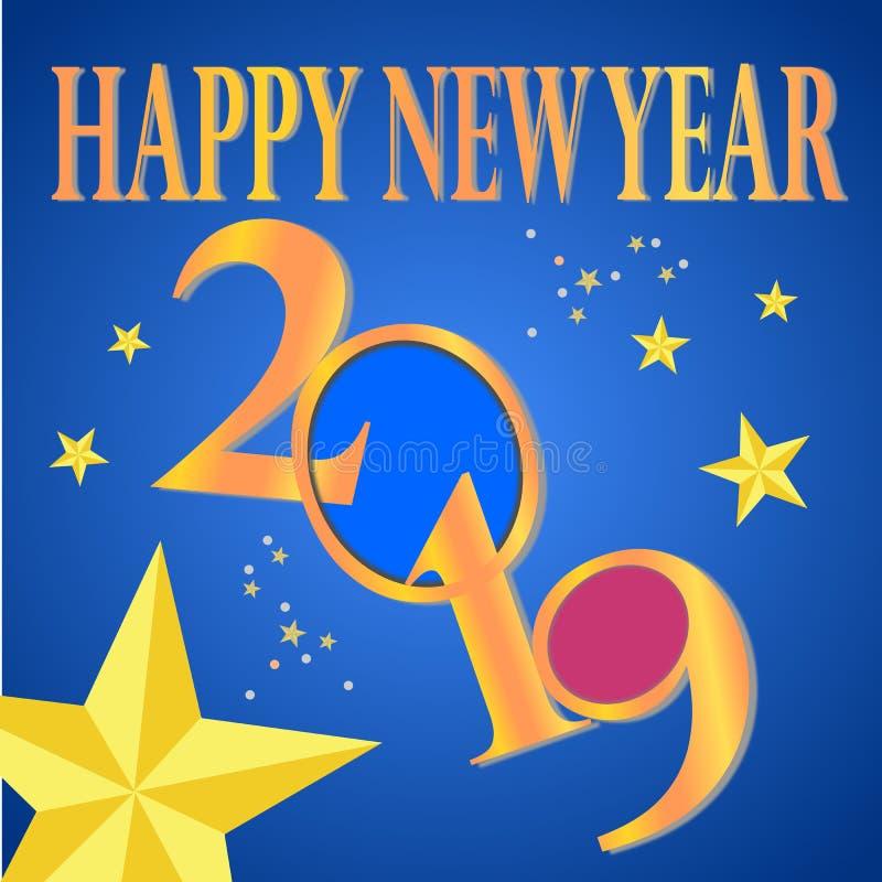 Lyckligt nytt år 2019 och hälsningskort stock illustrationer