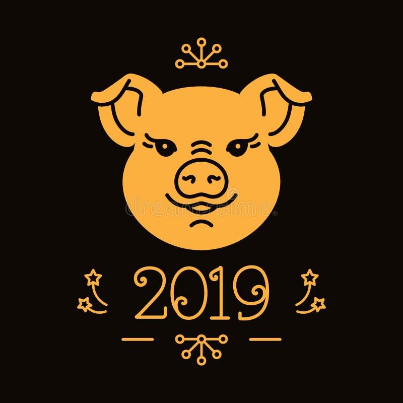 Lyckligt nytt år och julkort, 2019 år av svinet Gulligt guld- svin, nummer 2019 mörkt elegantt för bakgrund vektor stock illustrationer