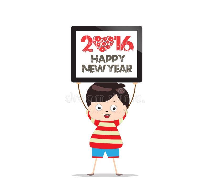 Lyckligt nytt år 2016 och minnestavlabarn stock illustrationer