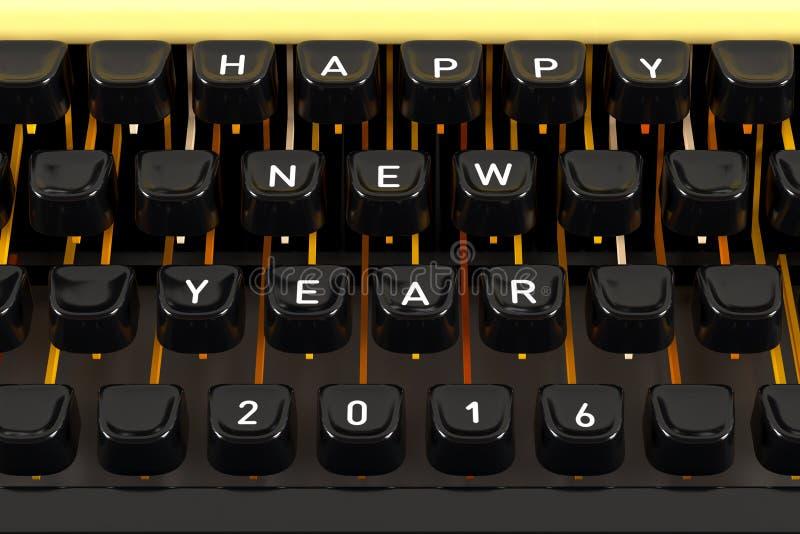 Lyckligt nytt år 2016 på skrivmaskinen arkivbilder