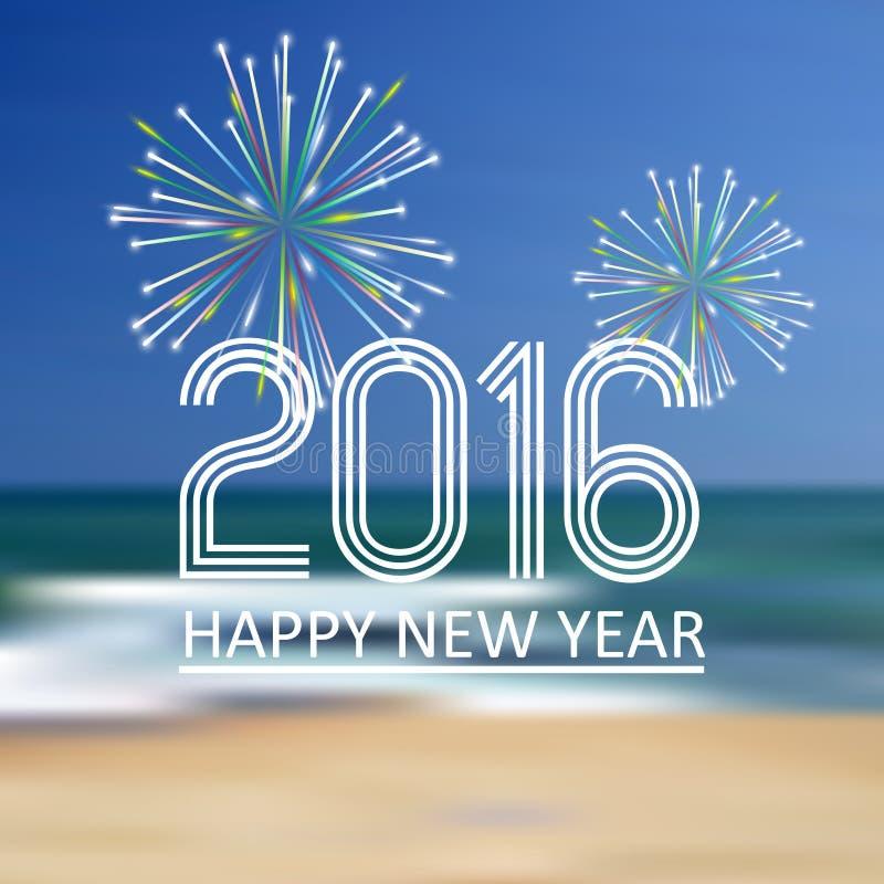 Lyckligt nytt år 2016 på strandfärgbakgrunden eps10 royaltyfri illustrationer