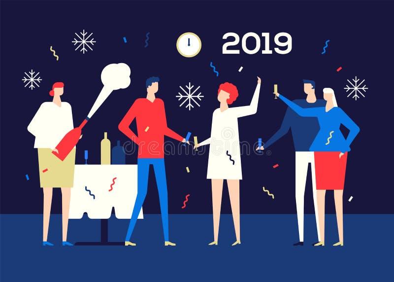 Lyckligt nytt år 2019 - plan designstilillustration vektor illustrationer