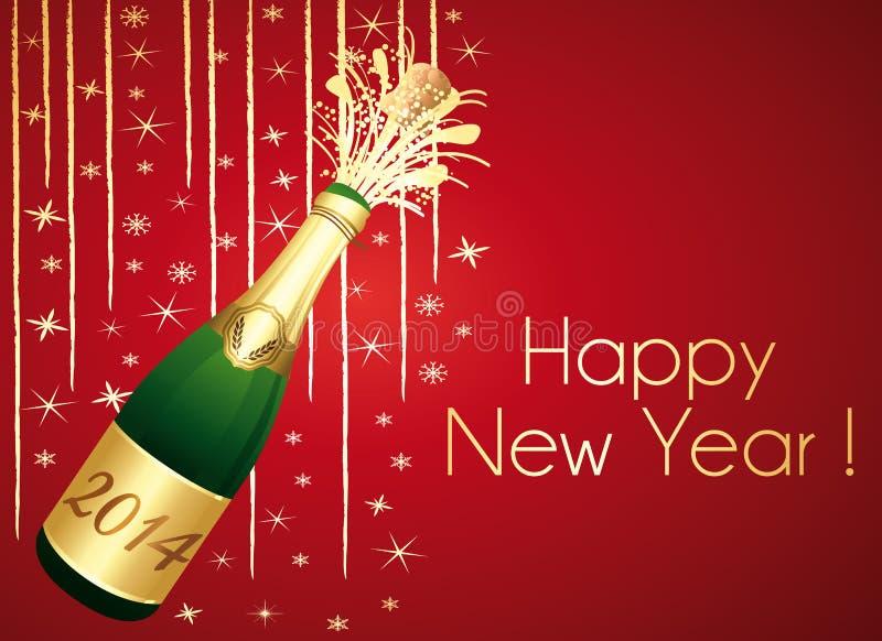 Lyckligt nytt år 2014! Rött och guld- hälsningkort. royaltyfri illustrationer