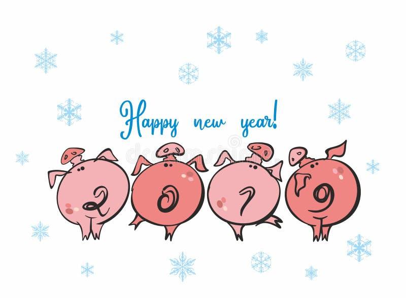 lyckligt nytt år Roliga spädgrisar 2019 Nummer av år r i form av svansarna av svin vektor stock illustrationer