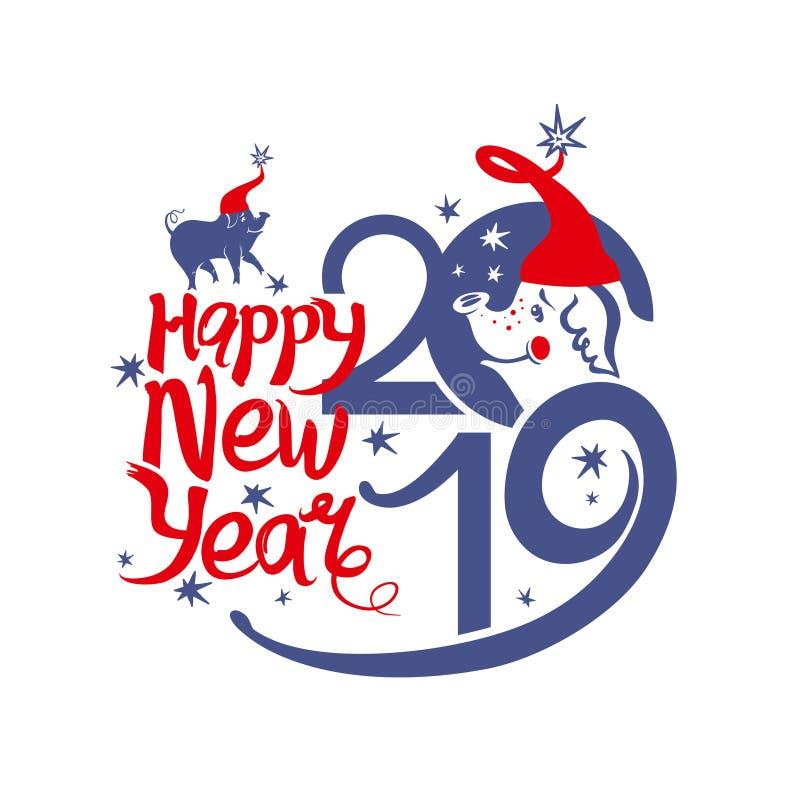 Lyckligt nytt år 2019 Santa Pigs och stjärnor vektor illustrationer