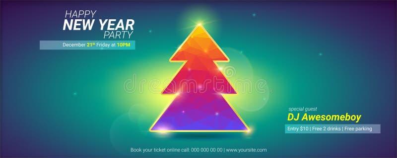 lyckligt nytt år Semestrar kortet med julgranen från modellen av kulöra trianglar och linssignalljuseffekt modernt vektor illustrationer