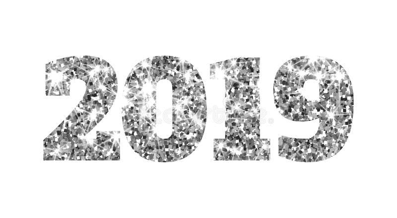 Lyckligt nytt 2019 år Silver blänker partiklar och mousserar Beståndsdel för ferievektordesign för kalendern, parti stock illustrationer