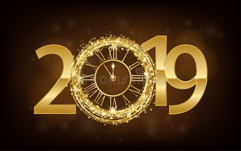 Lyckligt nytt år 2019 - skinande bakgrund för nytt år med den guld- klockan och att blänka royaltyfri illustrationer