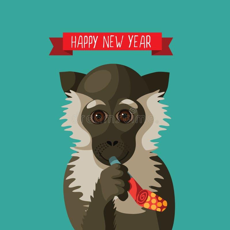 Lyckligt nytt år som ler tecknad filmapan royaltyfri illustrationer