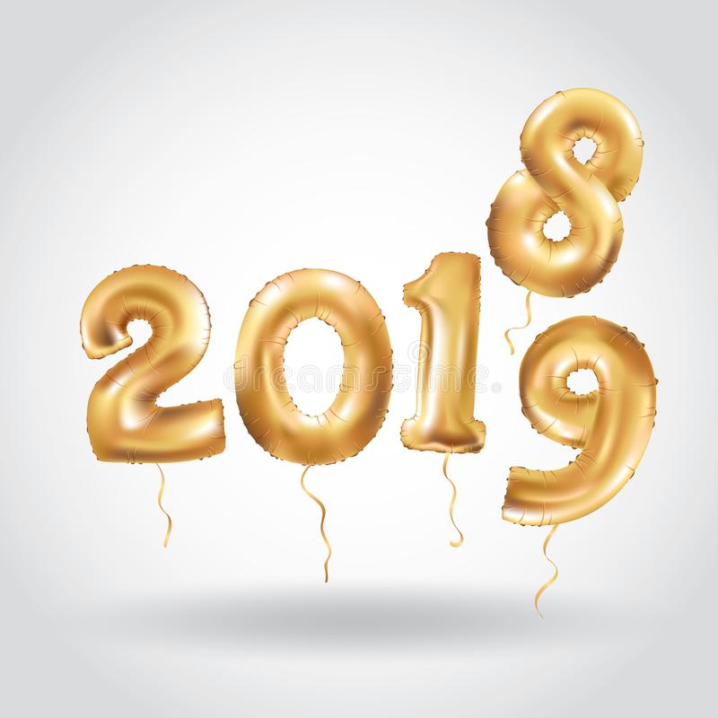 Lyckligt nytt år 2018 sväller 2019 guld banret stock illustrationer