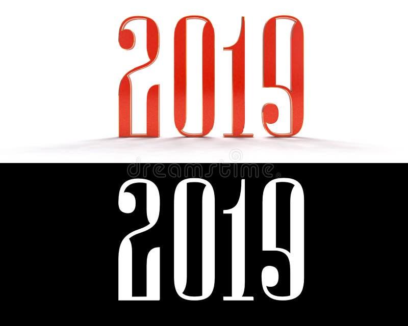 Lyckligt nytt år 2019 tvåtusen nitton på en vit bakgrund Röda nummer 3D illustration 3d royaltyfri illustrationer