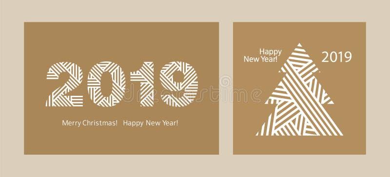 Lyckligt nytt år 2019 Uppsättning av enkla hälsningkort glad jul kraft papper royaltyfri illustrationer