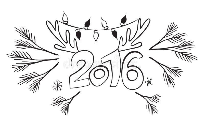 Lyckligt nytt 2016 år! Vektordiagramdesign Vykortmall Affischdesignbakgrund Jullogo stock illustrationer
