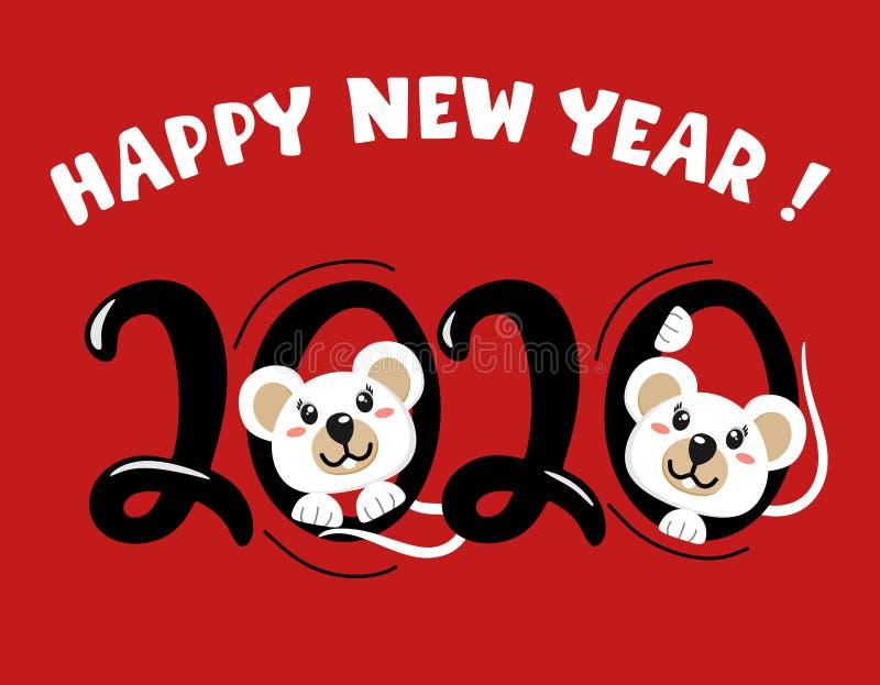 lyckligt nytt ?r Året av viten tjaller 2020 Gullig mus, symbolet av 2020 ocks? vektor f?r coreldrawillustration bokst?ver royaltyfri illustrationer